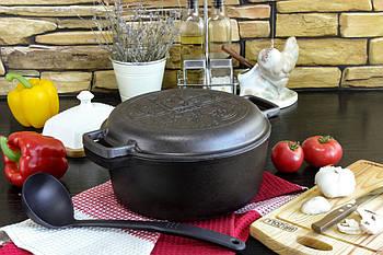 Кастрюля чугунная, с крышкой-сковородой 4л