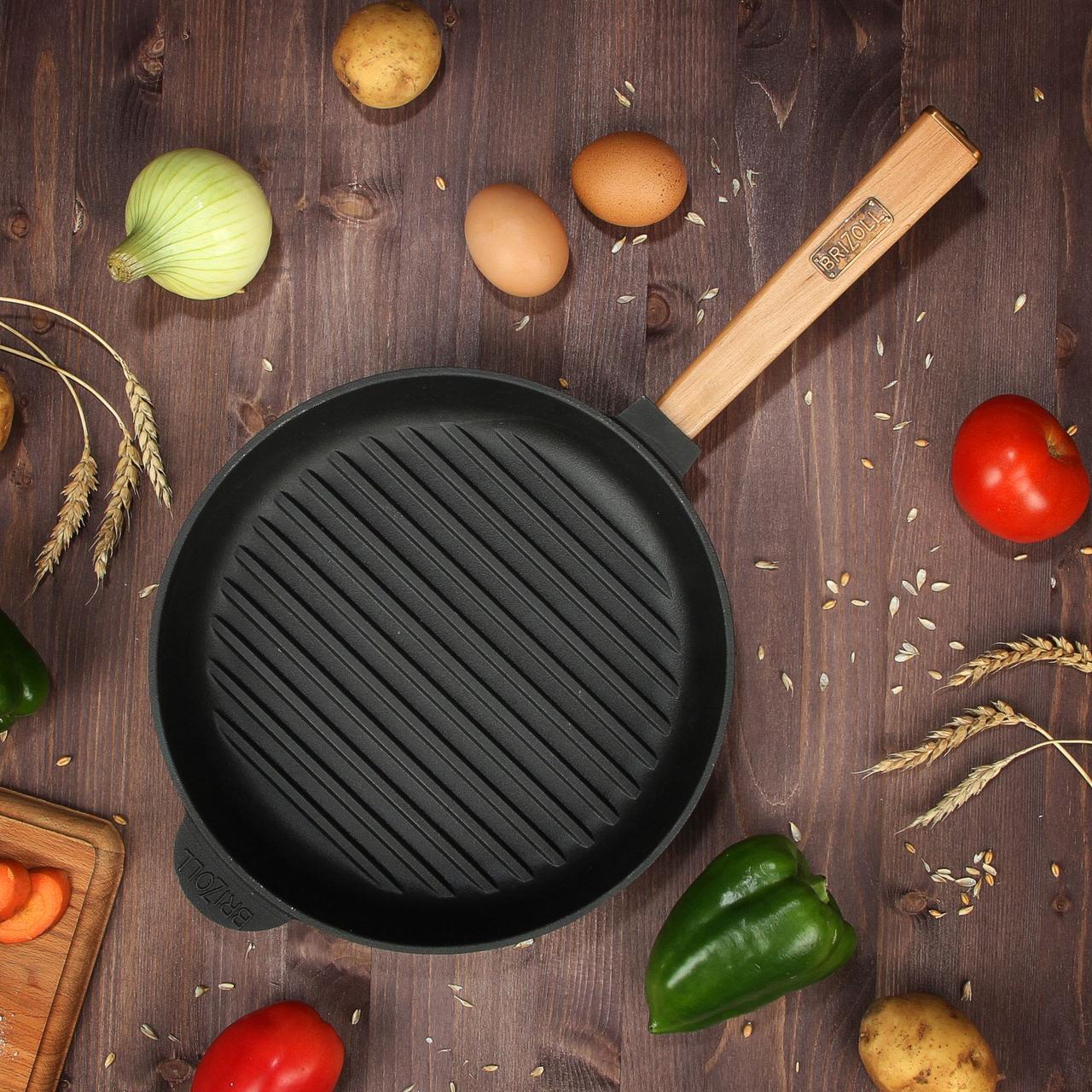 Сковорода чавунна гриль BRIZOLL Optima, 280х50 мм