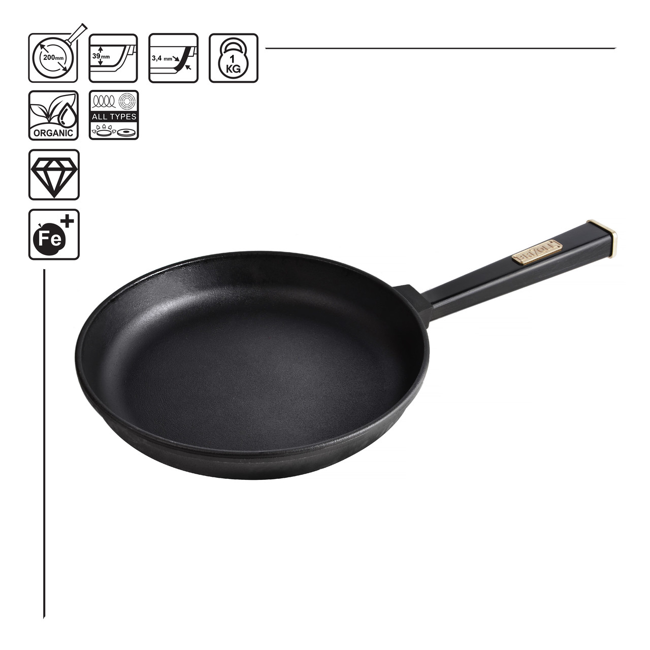 Сковорода чавунна Optima-Black, 200х35 мм
