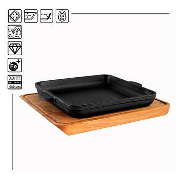 HoReCa, Сковорода чугунная квадратная BRIZOLL с подставкой 180х180х25 мм