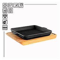 HoReCa, Сковорода чавунна квадратна BRIZOLL з підставкою 180х180х25 мм, фото 2