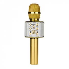 Колонка bluetooth -микрофон Караоке hoco. BK3 Cool золотой