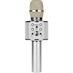 Колонка bluetooth -микрофон Караоке hoco. BK3 Cool серебристый