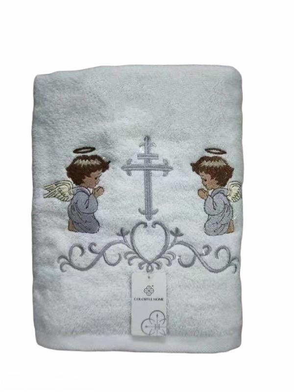 Крыжма-полотенце для крещения/махровое полотенце с серебристой вышивкой