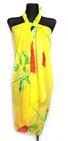 Пляжне шифонове парео Fashion Сільвия рози 170*110 см жовтий