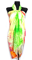 Пляжне шифонове парео Fashion Сільвия 170*110 см салатовий/жовтий