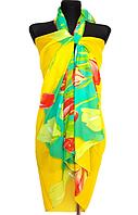 Пляжне шифонове парео Fashion Сільвия  тюльпани 170*110 см жовтий