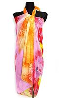 Пляжне шифонове парео Fashion Сільвия 170*110 см помаранчевий/рожевий