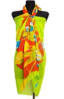 Пляжне шифонове парео Fashion Сільвия  тюльпани 170*110 см салатовий
