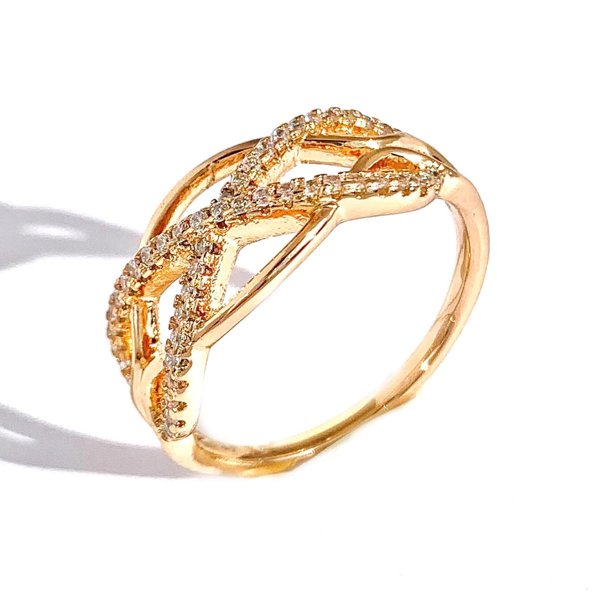 Кільце Xuping з медичного золота, білі фіаніти, позолота 18K, 12253
