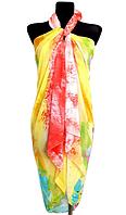 Пляжне шифонове парео Fashion Сільвия 170*110 см жовтий/алий