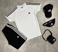 Летний спортивный костюм Adidas мужской / Комплект шорты и футболка Адидас хлопок Турция