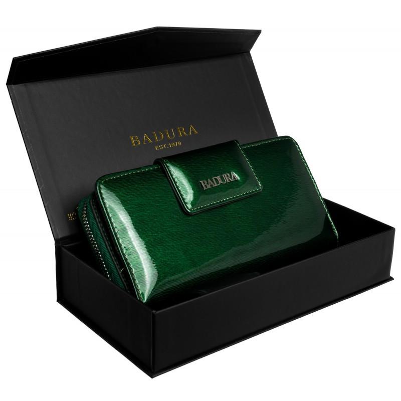 Жіночий шкіряний гаманець Badura з RFID 10 х 19 х 3 (B-43879P-SH) - зелений