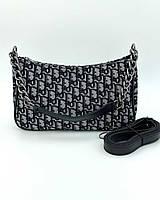 Жіноча сумка Луна  27*16*7 см чорний/сірий