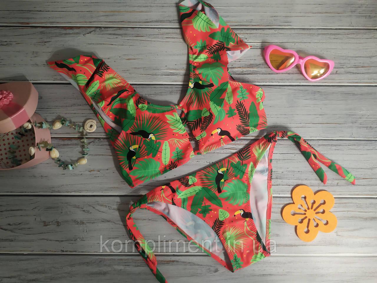 Модный яркий раздельный купальник для девочки подростка с рюшами.