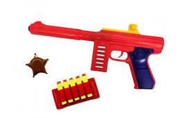 Игрушечный пистолет с присосками (красный), 5 стрел