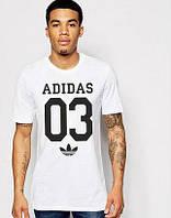 Мужская футболка Adidas, спортивная футболка Адидас, хлопок, белая