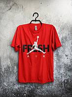 Мужская футболка Jordan, спортивная футболка Джордан, хлопок, красная
