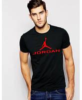 Мужская футболка Jordan, спортивная футболка Джордан, хлопок, черная