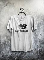 Мужская футболка New Balance, спортивная футболка Нью Баланс, хлопок, белая