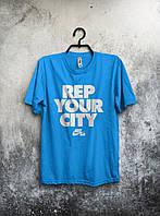 Мужская футболка Nike, спортивная футболка Найк, хлопок, Голубая, Бирюзовая