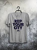 Мужская футболка Nike, спортивная футболка Найк, хлопок, серая