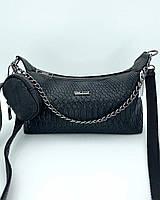 Жіноча сумка Лойз з гаманцем екошкіра 25*14*9 см чорна