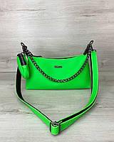 Жіноча сумка Лойз з гаманцем екошкіра 25*14*9 см зелена