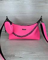 Жіноча сумка Лойз з гаманцем екошкіра 25*14*9 см рожева