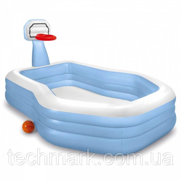 Дитячий надувний басейн з баскетбольним кільцем Intex 57183 розміром 257 х 188 х 130 см