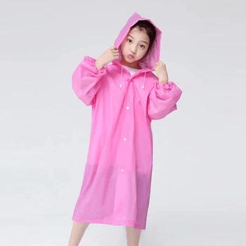 Дождевик детский на кнопках, плащ против доща для ребенка из материала EVA Розовый