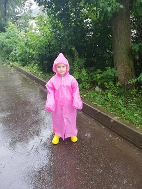 Дождевик детский на кнопках, плащ против доща для ребенка из материала EVA Розовый, фото 2