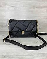 Стегана жіноча сумка Паркер екошкіра 26*16*10 см чорна