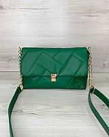Стегана жіноча сумка Паркер екошкіра 26*16*10 см зелена