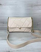 Стегана жіноча сумка Паркер екошкіра 26*16*10 см бежева