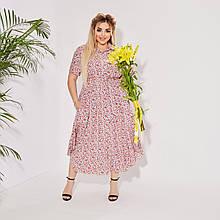 Літнє плаття жіноче Штапель Розмір 50 52 54 56 58 60 62 64 Різні кольори