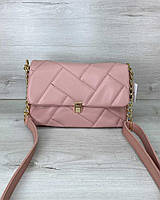 Стегана жіноча сумка Паркер екошкіра 26*16*10 см пудрова