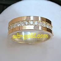 Кольцо серебро 925 пробы со вставкой золота 375 пробы.