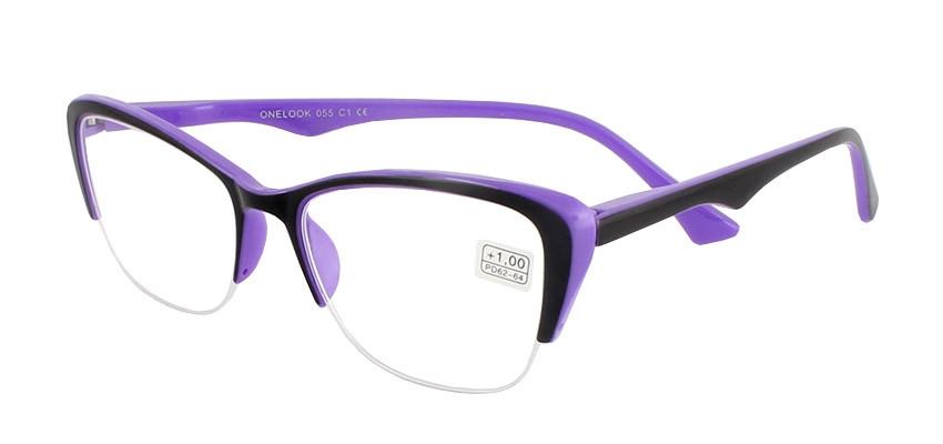 Очки диоптрийные для зрения, плюсовые, для чтения, в пластиковой оправе, сиренево-чёрные, женские, Onelook