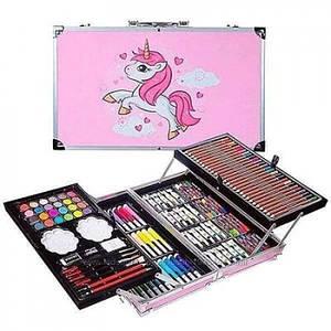 Набір для малювання в алюмінієвому валізці 145 предметів Рожевий Єдиноріг