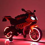 Детский электромотоцикл с подсветкой колес M 4103-7 оранжевый. Мотоцикл для детей, фото 3