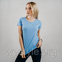 Футболка женская однотонная хлопковая - небесно-голубой цвет