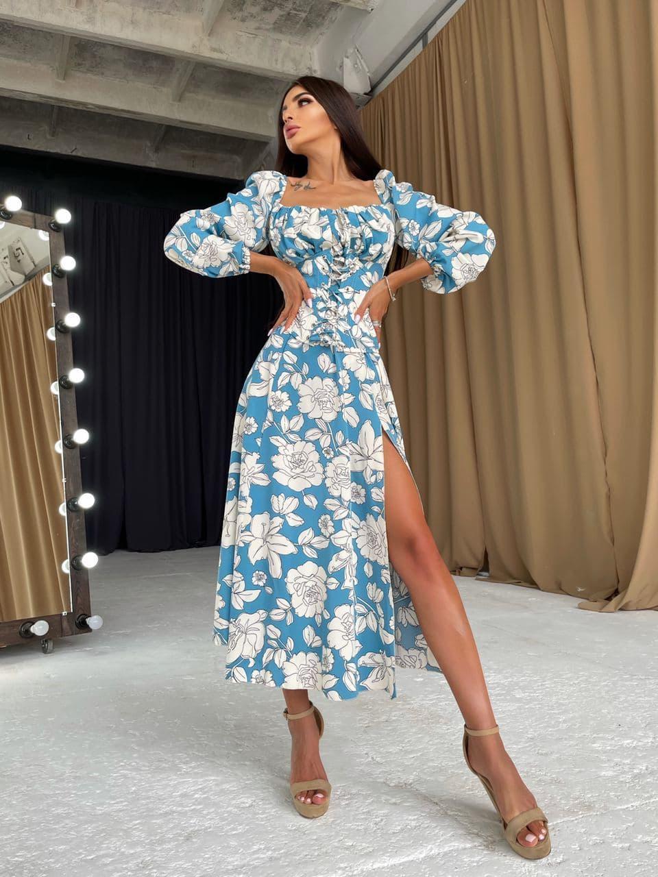 Квіткове плаття c корсетом і об'ємними рукавами і розрізом на нозі (р. S-L) 66032670Е