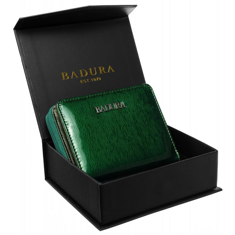 Жіночий шкіряний гаманець Badura з RFID 9,5 х 11 х 2,5 (B-41375P-SH) - зелений