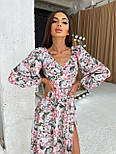 Цветочное платье cо спущенными плечами и объемными рукавами с разрезом на ноге (р. S-M) 66032672Е, фото 7