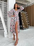Цветочное платье cо спущенными плечами и объемными рукавами с разрезом на ноге (р. S-M) 66032672Е, фото 4