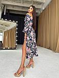 Цветочное платье cо спущенными плечами и объемными рукавами с разрезом на ноге (р. S-M) 66032672Е, фото 3