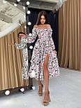Цветочное платье cо спущенными плечами и объемными рукавами с разрезом на ноге (р. S-M) 66032672Е, фото 9