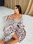 Цветочное платье cо спущенными плечами и объемными рукавами с разрезом на ноге (р. S-M) 66032672Е, фото 6