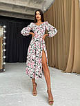 Цветочное платье cо спущенными плечами и объемными рукавами с разрезом на ноге (р. S-M) 66032672Е, фото 2